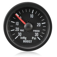 52mm Clear Lens / Black Face Turbo Boost Gauge (Psi)