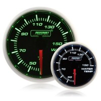 52mm Smoked Super Green/White Water Temperature Gauge (°C)