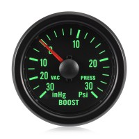 52mm Traditional Green Turbo Boost Gauge (Psi)