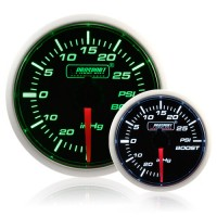 52mm Smoked Super Green/White Turbo Boost Gauge (PSI)